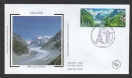 DF / FDC DU TP 4255 PAYSAGES DE FRANCE ET DU BRÉSIL / LA MER DE GLACE - Lettres & Documents