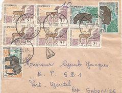 Gabon Cameroun 1966 Edea Taxed Hippo Elephant Underfranked Cover Fruit Postage Due Porto - Gabon (1960-...)