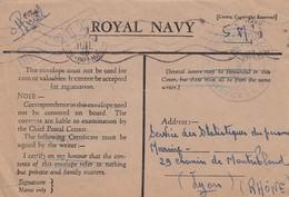 LETTRE 9.7.1946.  ROYAL NAVY. DRAGUEUR 378. MARINE NATIONALE. OFFICIEL EN SM  POUR SSPM LYON - Marcophilie (Lettres)