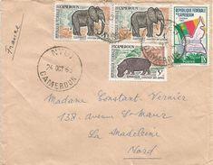 Cameroun Cameroon 1963 Ntui Hippo Elephant Flag Cover - Kameroen (1960-...)