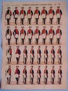 PLANCHE XIX è , Ca 1870  EJERCITO ESPANOL GUARDIA CIVIL , Soldats Espagne, LITHOGRAPHIE De Paluzie , UNIFORMES , 41 Cm - Lithographies