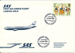 Great Britain First SAS Flight Airbus London - Oslo 29-3-1981 - Covers & Documents