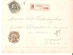 Lettre RECOMMANDEE TP. N° 30-32 ANVERS(Station) Du 10/8/1883 V/GAND - 1869-1883 Leopold II