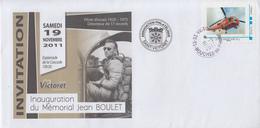 Enveloppe   Invitation  Mémorial   JEAN  BOULET     SAINT  VICTORET    2011 - Hélicoptères