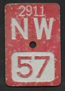 Velonummer Nidwalden NW 57 - Plaques D'immatriculation