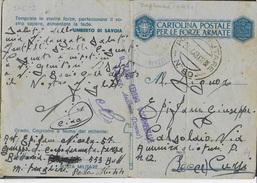 FRANCHIGIA MILITARE CARTOLINA (INT. 27D/3) - DA PM 80 (ZAGHOUAN- TUNISIA) (p.4) 27.04.1943 PER CURSI (LE) - 1900-44 Vittorio Emanuele III