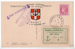 Carte Souvenir Avec Vignette 'Congrès FAMAC' Annecy 1946 - 1921-1960: Periodo Moderno