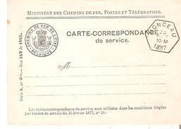 Carte De Service - Oblit. Hexagonale MONCEAU 23/8/1887 (adresse Finement Effacée) Voir Verso TB Et R. - Railway