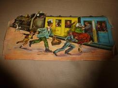 Grand Chromo-Découpis Scène De Gare ..VITE!  VITE! Le Train S'en Va ...faut Faire Rentrer Maman D'abord En La Poussant - Victorian Die-cuts