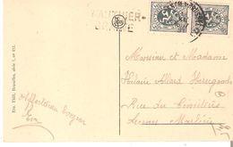 CP.TP. 279(2) BRUXELLES Midi 1931griffe WAUTHIER- BRAINE Vers Leernes - Poststempel