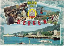 Bergen - Multiview, Boats, Cable-car, Fish Market -  (Norge/Norway) - Noorwegen