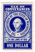 (I.B) US Revenue : Washington State Conveyance Tax $1 - Used Stamps
