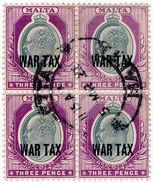 (I.B) Malta Postal : 3d Grey & Purple War Tax (SG 93) - Malta (...-1964)
