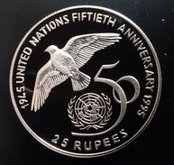 """SEYCHELLES 25 RUPEES 1995 SILVER PROOF """"50th Anniversary U.N."""" Free Shipping Via Registered Air Mail - Seychelles"""