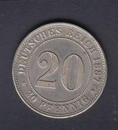 Dt. Reich 20 Pfennig 1887 D - [ 2] 1871-1918: Deutsches Kaiserreich