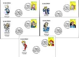 70 AÑOS SPIROU, Set 5 Sobres - 70 YEARS OF SPIROU, Set Of 5 Covers. Bruxelles 2008 - Comics
