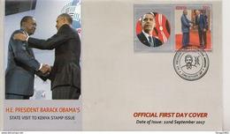 2017 Kenya USA President Obama Visit First Day Cover  - Great Christmas Present (TAB MAY VARY) - Kenya (1963-...)