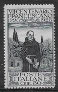 Italia Italy 1926 Regno San Francesco C30 D13 1/2 Sa N.193 Nuovo MH * - 1900-44 Vittorio Emanuele III