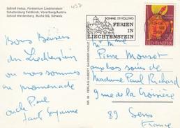 CARTE. LIECHTENSTEIN. 7.8.68.  VADUZ TO SENS FRANCE - Lettres & Documents