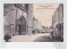 24) Beaumont Du Périgord.- (Dordogne)  Rue Principale Et Portique De L´Eglise - Non Classés