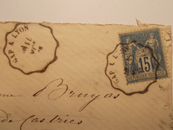 Marcophilie  Cachet Lettre Obliteration - Timbre -  Convoyeur Gap à Lyon - 18?? - (1432) - 1849-1876: Classic Period