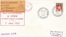 LETTRE FRANCE. 7.8.63. N°1181 SEUL SUR LETTRE. RATTACHEMENT A LYON DE ST RAMBERT-L'ILE-BARBE - 1961-....