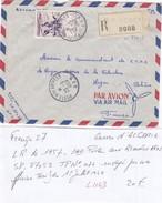 LETTRE FRANCE. 20.6.57. FM. RECOMMANDÉ S.P.87.053. N°1074  SEUL SUR LETTRE. TARIF DU 1.7.49 - Marcophilie (Lettres)