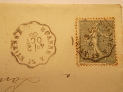 Marcophilie  Cachet Lettre Obliteration - Timbre -  Convoyeur Roanne à St Etienne - 1905 - (1439) - Postmark Collection (Covers)