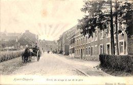 """Henri-Chapelle - Entrée Du Village & Rue De La Gare (animée, Attelage, Edit. G. Moreau...""""effet Soleil"""") - Welkenraedt"""