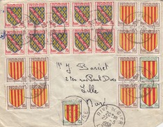 LETTRE. 27.5.58. 23 TIMBRES RECTO, 7 VERSO - Marcophilie (Lettres)