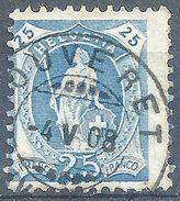 Stehende Helvetia 93A, 25 Rp.blau  BOUVERET           1908 - 1882-1906 Wappen, Stehende Helvetia & UPU