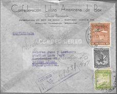 CONFEDERACION LATINO AMERICANA DE BOX A PACE Y LECTOURE  STADIUM LUNA PARK BUENOS AIRES AÑO 1942 SOBRE CIRCULADO - Chile
