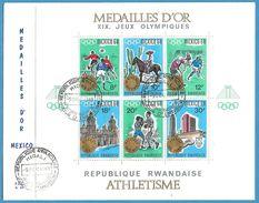 Ruanda1968: FDC Mit Nr. Block 15 (Nr. 296-301)° Olympiade Mexico 1968 #C29 - Rwanda