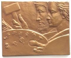 Médaille  Bronze Oeuvre Nationale Des Beaux-arts. Dolf Ledel. 67x55mm - 105 Gr - Professionals / Firms