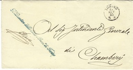 """1855 - TORINO - Franchise  """" Il Questore Della Citta E Prov.ca Di Torino """" Bleu-vert + Cad Torino - Sardinia"""