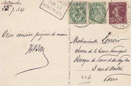 DAGUIN SALLANCHE SUR CP 25.7.34. ST MARTIN SUR ARVE - Marcophilie (Lettres)