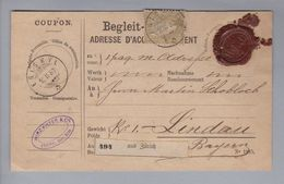 Schweiz 1880-02-16 Eriswil Paketkarte Mit Einzelfrankatur Zu#36 Nach Lindau (1Fr.goldene Sitzende Helvetia) - 1862-1881 Helvetia Assise (dentelés)