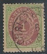 Danish West Indies   1874  Sc#5  1c  Used  2016 Scott Value $30 - Denmark (West Indies)