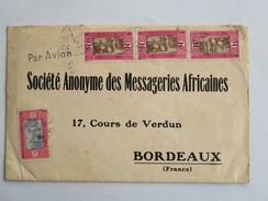Enveloppe, 4 Timbres, Adressée Le 10 Janv. 1930 à Société Anonyme Des MESSAGERIES AFRICAINES à BORDEAUX, Cours De Verdun - Marcophilie (Lettres)