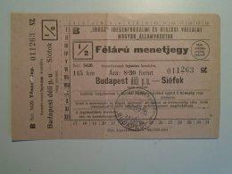 H4.9  Ticket De Train - Railway - Budapest -Siófok -fapados   Hungary 1952 MÁV - Abbonamenti