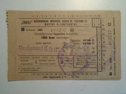 H4.11 Ticket De Train - Railway - Budapest -Pápa -fapados  Hungary 1953 MÁV - Abonnements Hebdomadaires & Mensuels