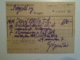 H4.14 MÁV - Railway -MÁV Szeged - Bill To Bélmegyer J.A.TSZ  110 Ft 1959 - Transportation Tickets