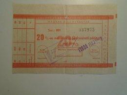 H4.15 MÁV - Railway  Ticket De Train - 20% Gyorsvonati Pótjegy 1986 - Unclassified