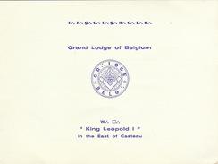 """Franc Maçon Invitation Maconnique Grand Lodge Of Belgium Pour érection Des Colonnes  """"king Leopold"""" East Of Casteau - Programme"""