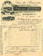 """""""Les Vins Du Minervois"""", Emilien DURAND, Viticulteur-propriétaire, Rue Soumet, CASTELNAUDARY, 1921 - Facturen"""