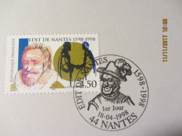 "Notice Philatélique 1er Jour "" Edit De Nantes  1598-1998 - Documentos Del Correo"