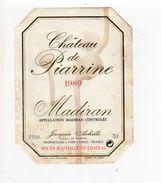 ETIQUETTE VIN CHATEAU DE PIARRINE 1989 MADIRAN - Madiran