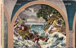 Le Saut De Tell - Tell's Sprung - Carte Gauffrée - Personnages