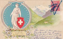 A Toi Patrie Suisse, Chérie, Le Sang, La Vie, De Tes Enfants - Carte Gauffrée - Oblitération Manuelle - Cartes Postales