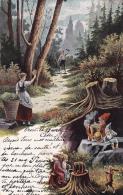 Belle Carte :Jeunes Gens Dans La Forêt - Des Lutins - Oblitérée ORON Le 20.IV.1903, à Destination Des Monts-de-Corsier - Personnages